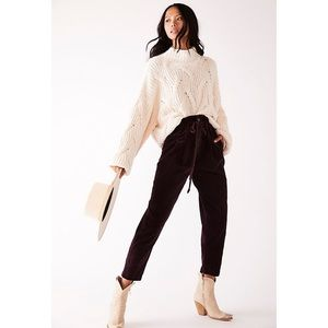 Free People Margate Cord Trouser Panther Rose NWOT